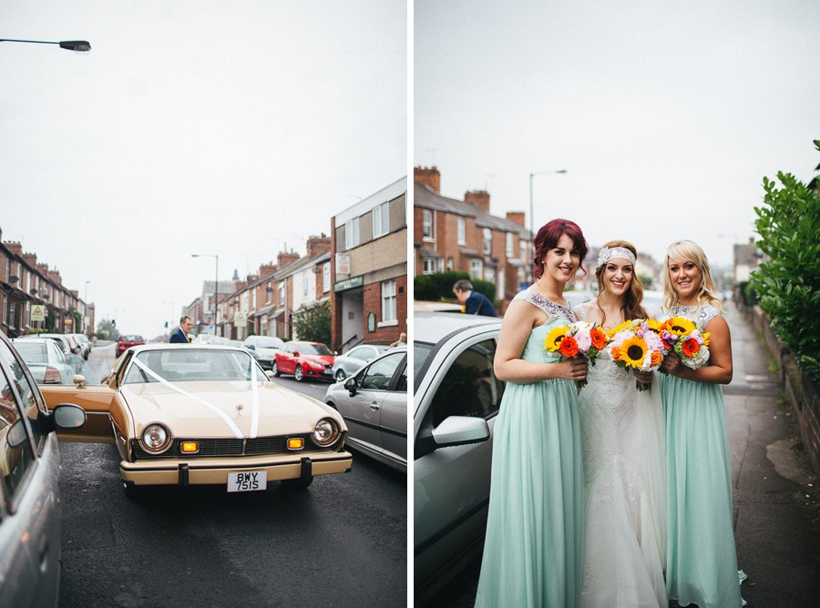 The bride and bridesmaids wearing mint green dresses