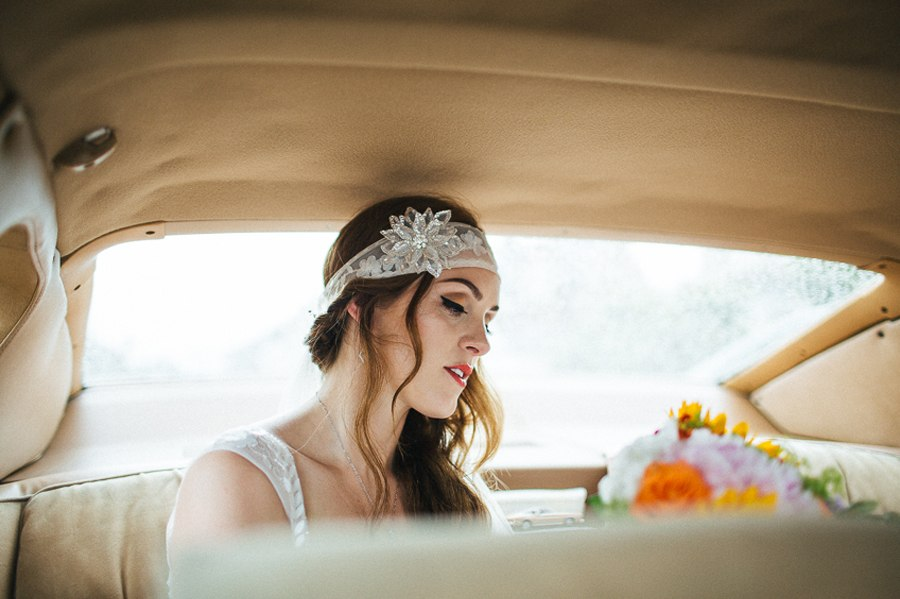 Boho bride on the way to the ceremony
