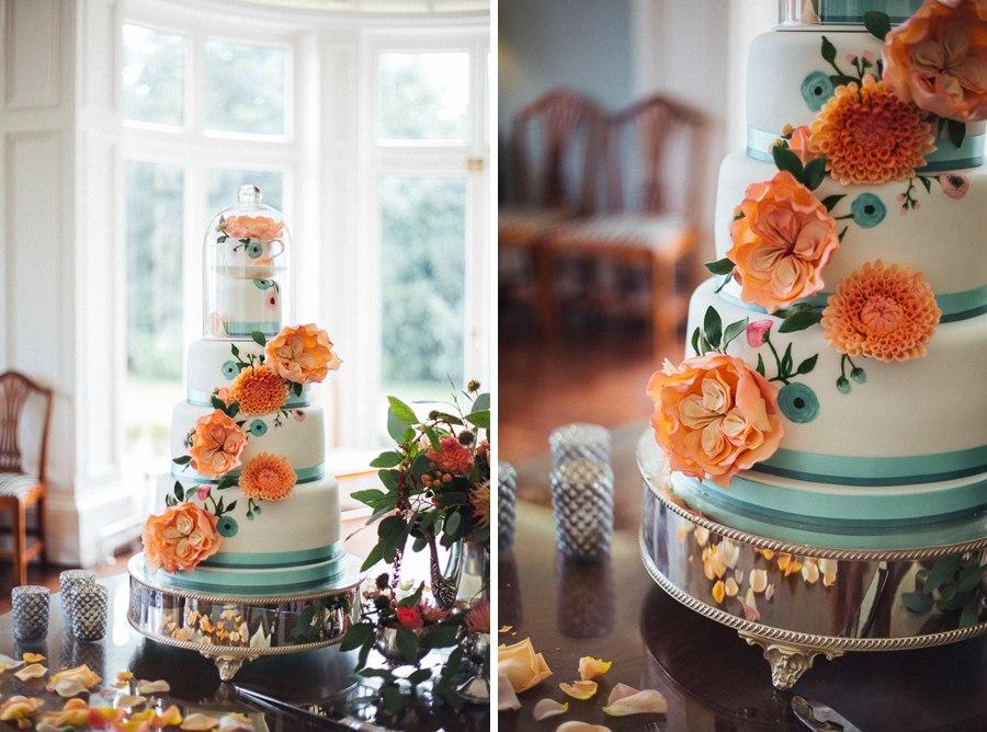 Orange floral wedding cake