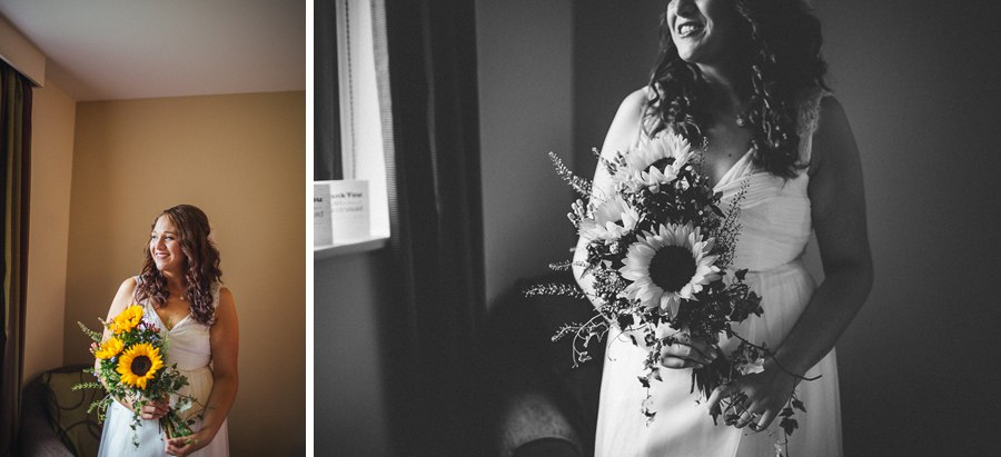 Sunflower wedding bouquet Lancashire