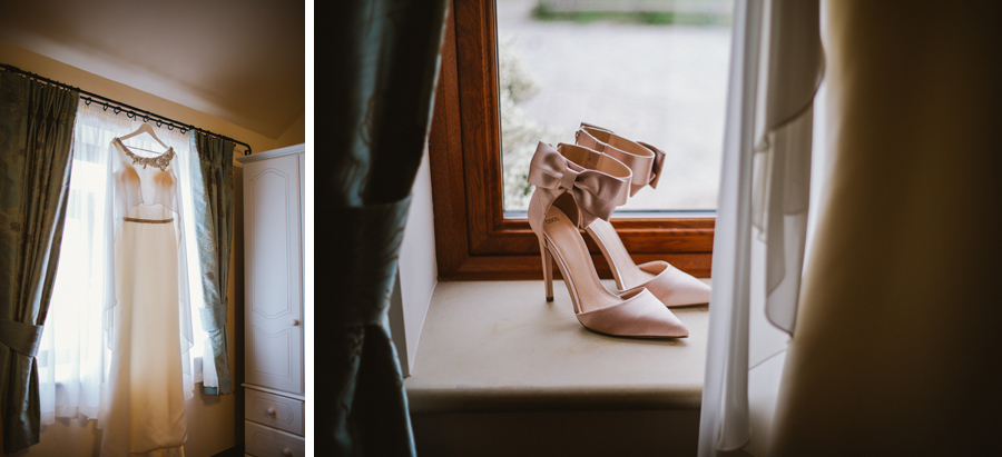 Beautiful wedding dress and shoes