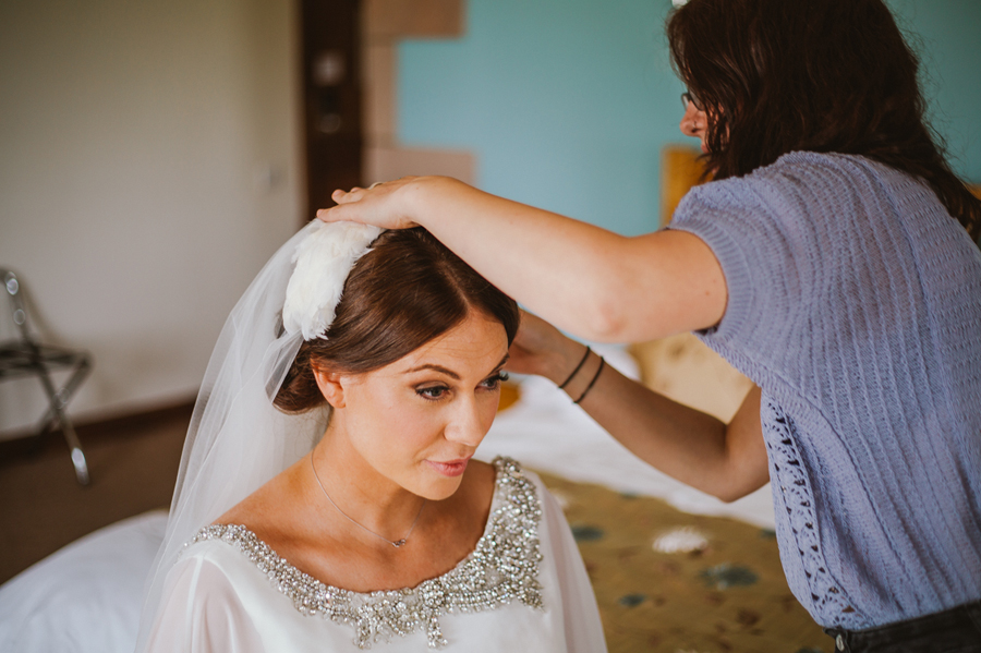 Bride's veil and headpiece fitting