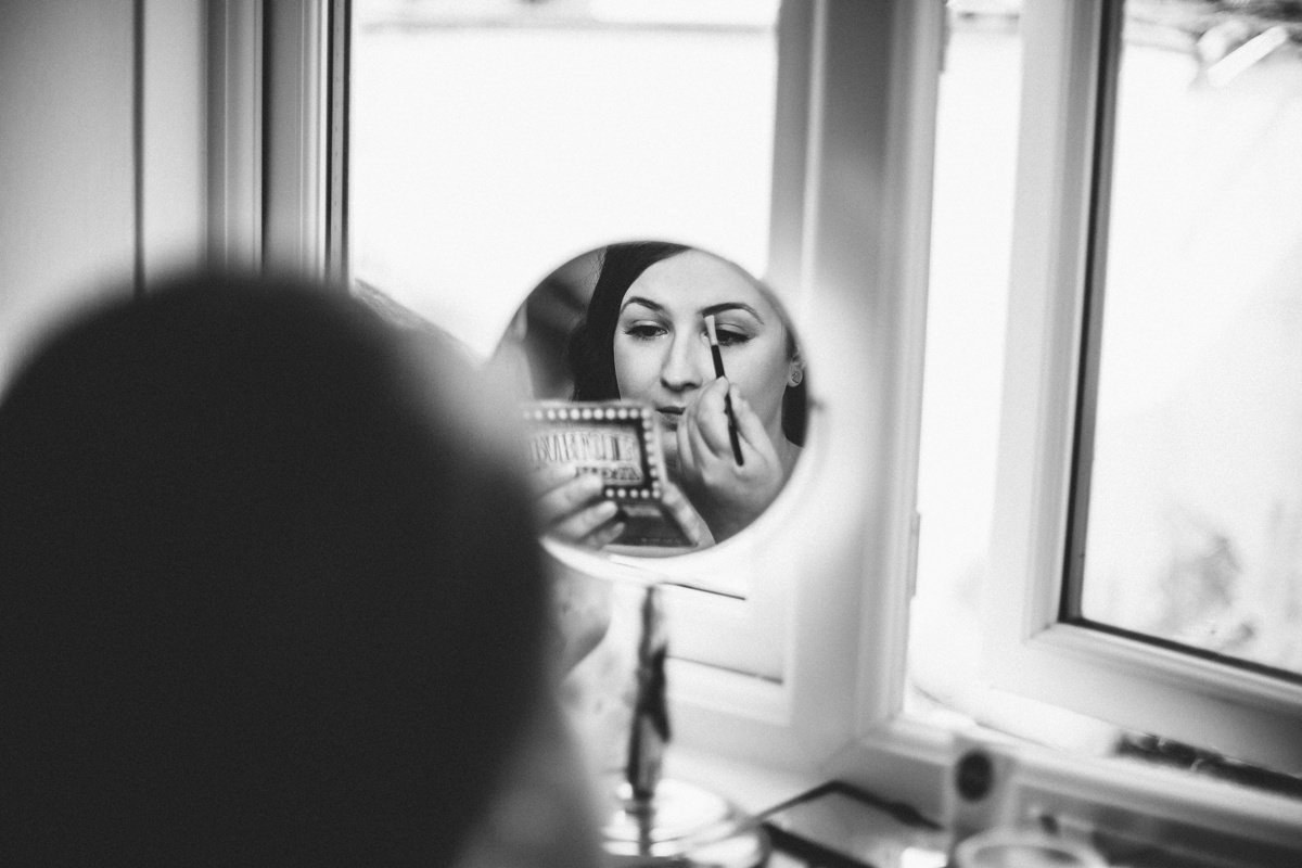 Bridal makeup, bride getting ready, documentary wedding photography Yorkshire.