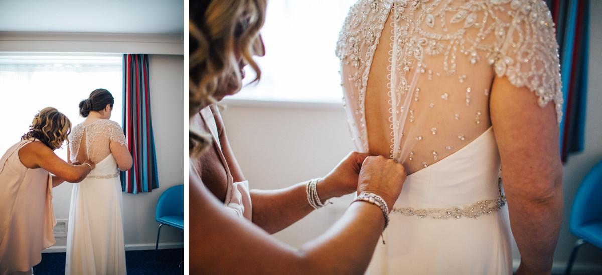 Beaded vintage wedding dress, relaxed wedding photography.