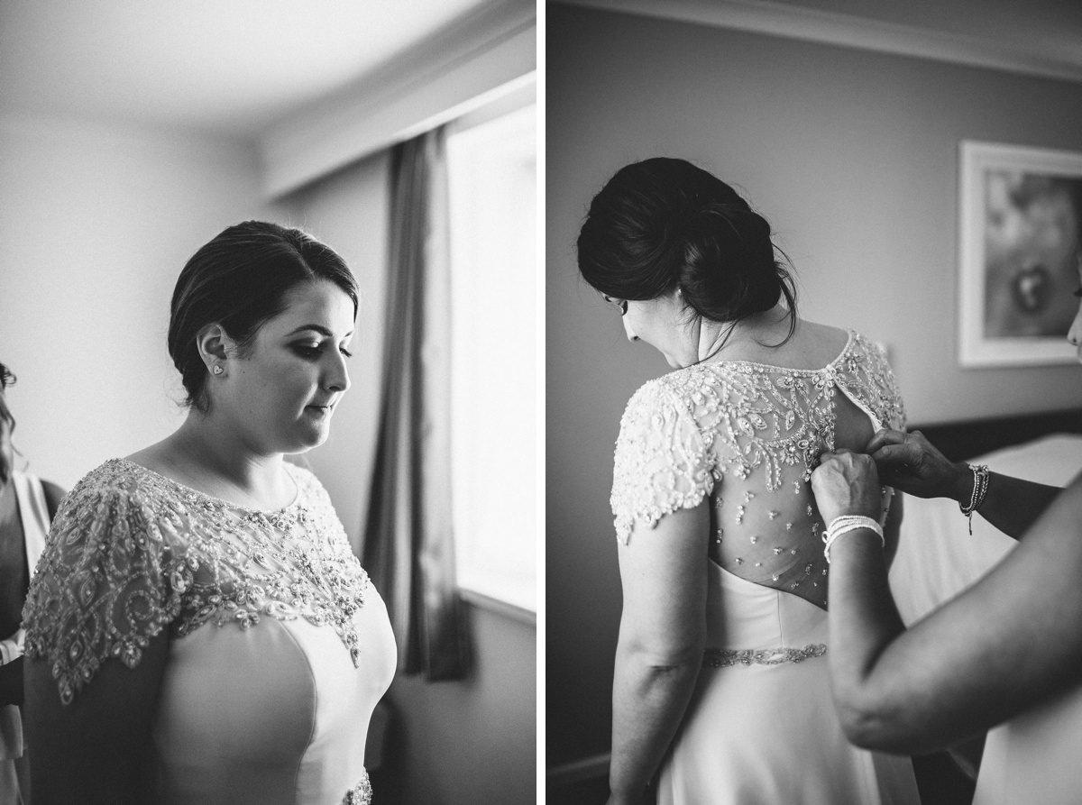 Beaded vintage style wedding dress.