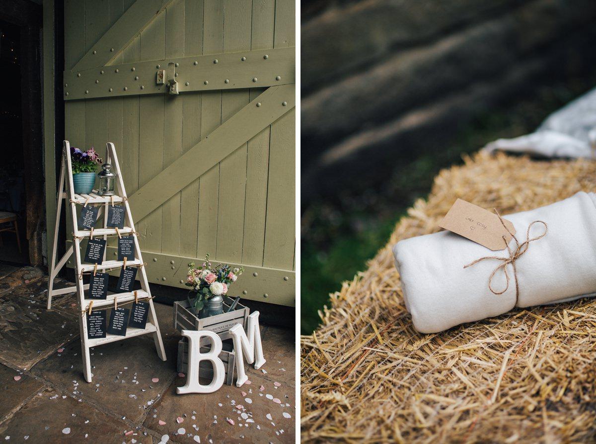 Rustic wedding details. Barn wedding Yorkshire.