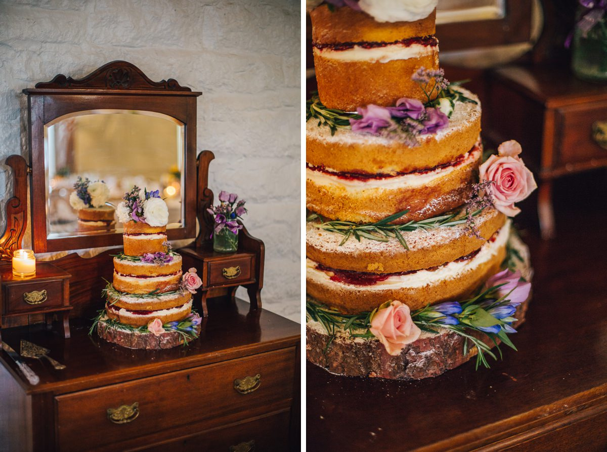 Naked cake, wedding details. Yorkshire Wedding Photographer.