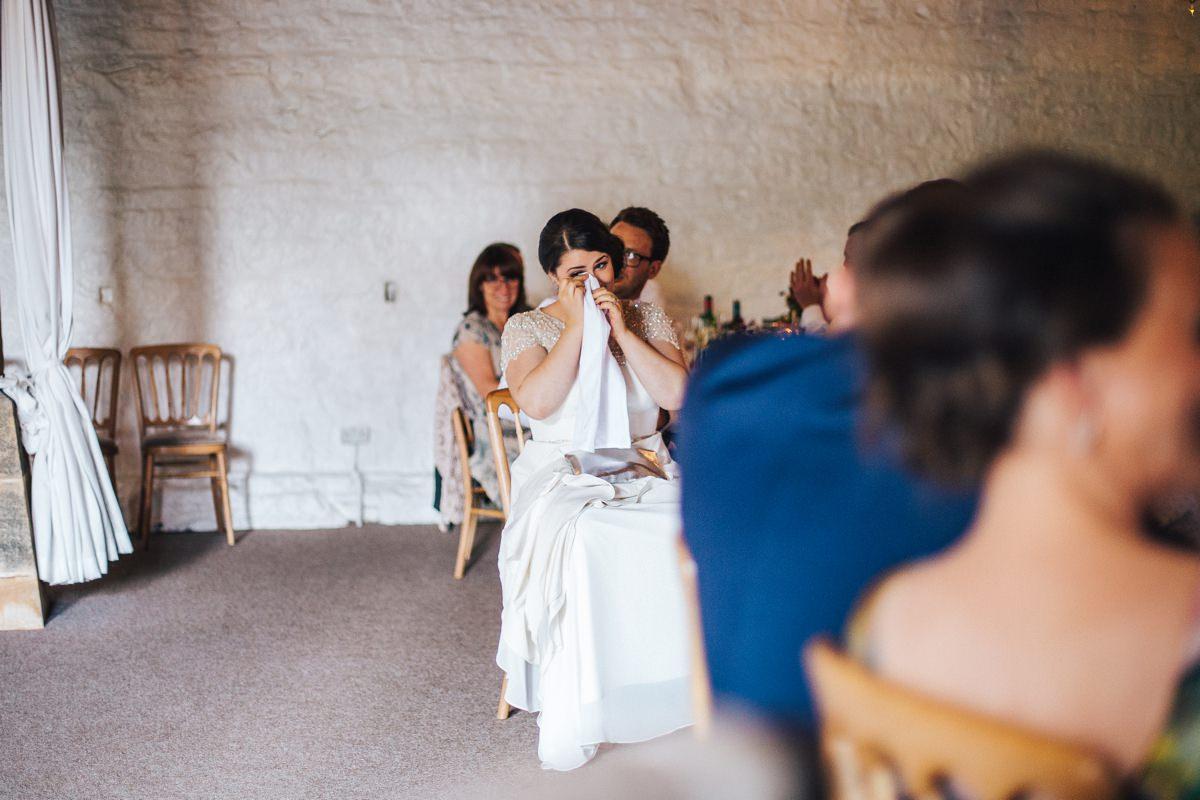 Emotional speeches Yorkshire wedding.
