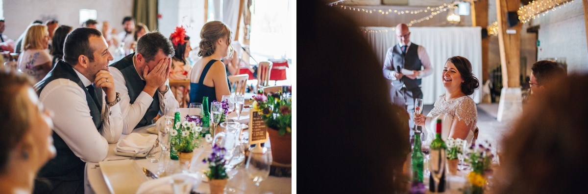 Wedding speeches, relaxed barn wedding Yorkshire.