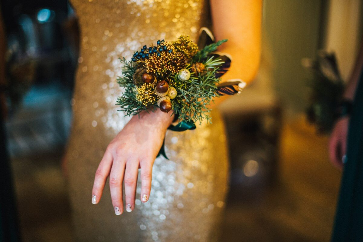 Bridesmaid's alternative woodland wrist bouquets
