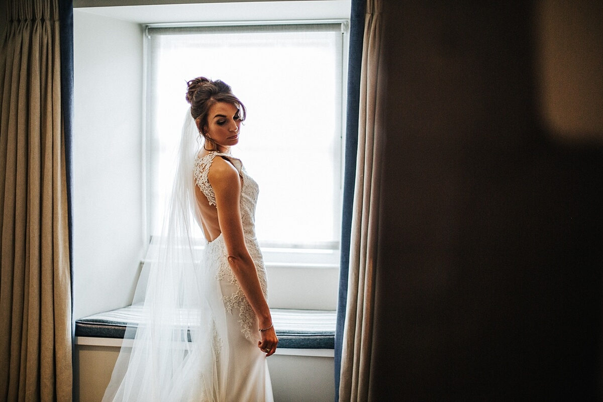 Bridal portrait in the window