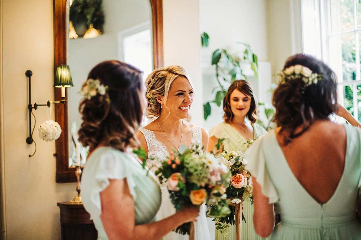 Boho bride smiling