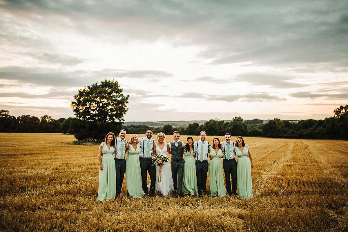 Creative wedding group photo