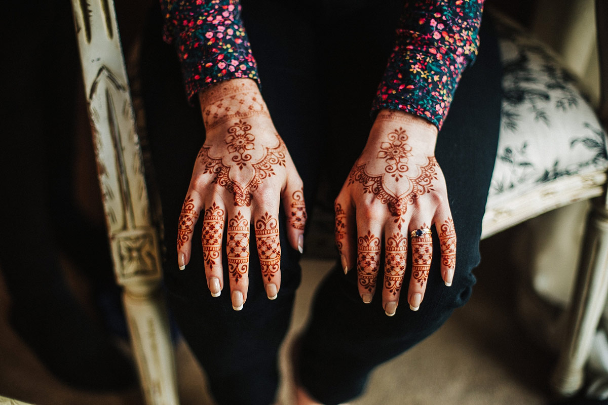 Henna bride hand tattoo