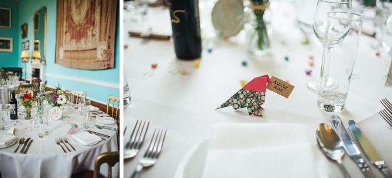 Origami bird table decorations