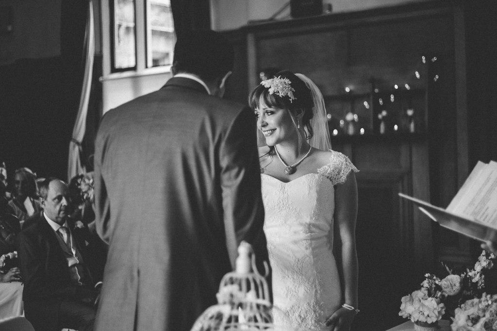 Happy bride during the ceremony