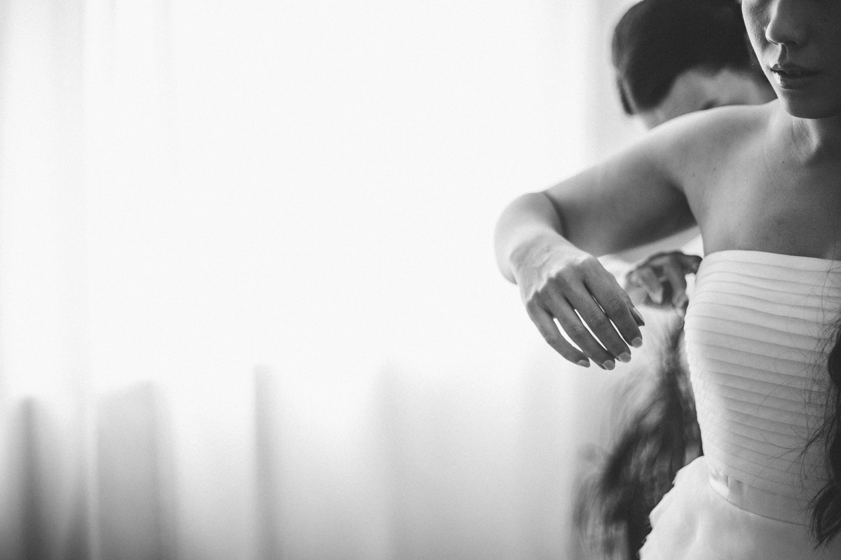 Creative photo of the bride getting ready