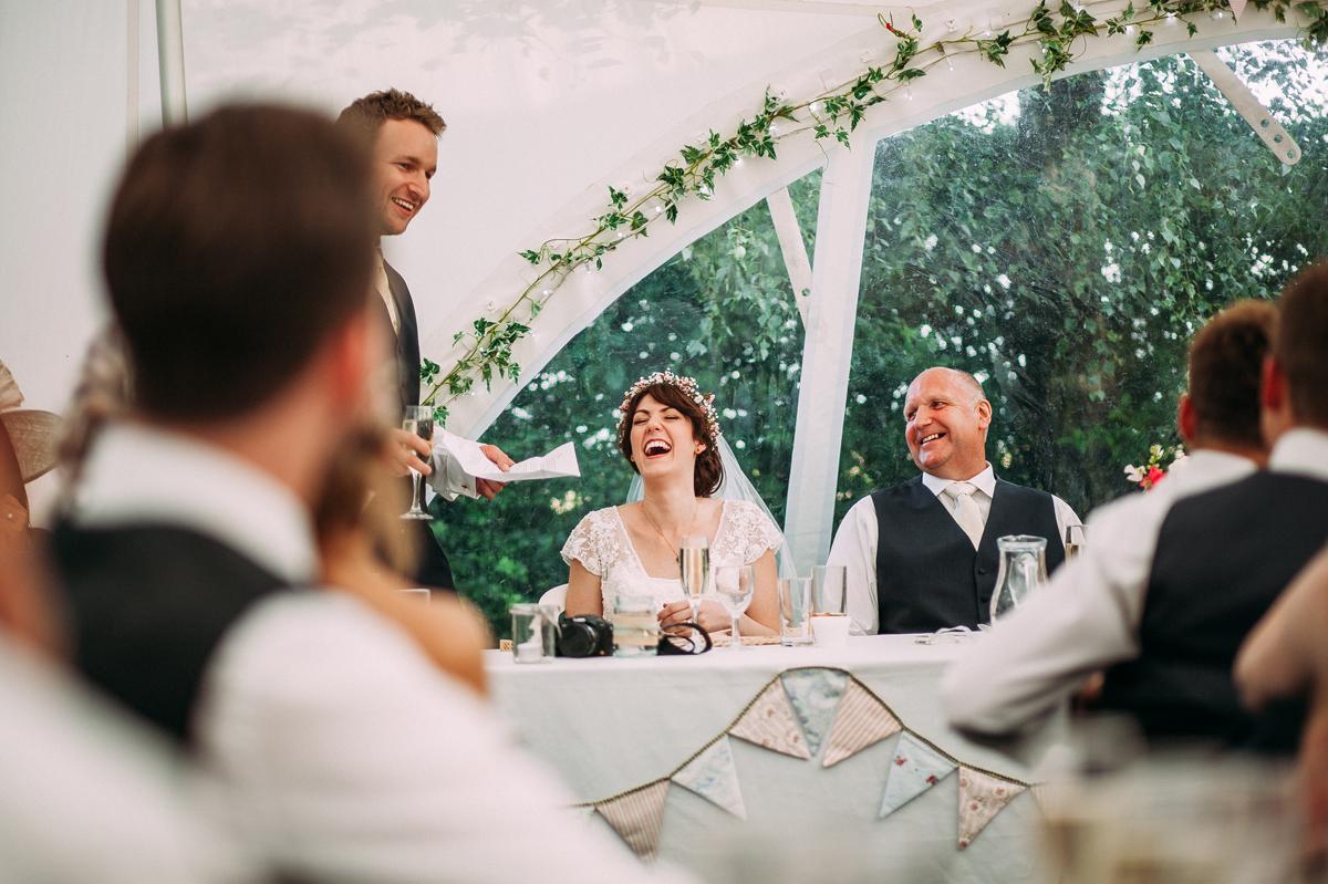 Speeches in the marquee garden wedding