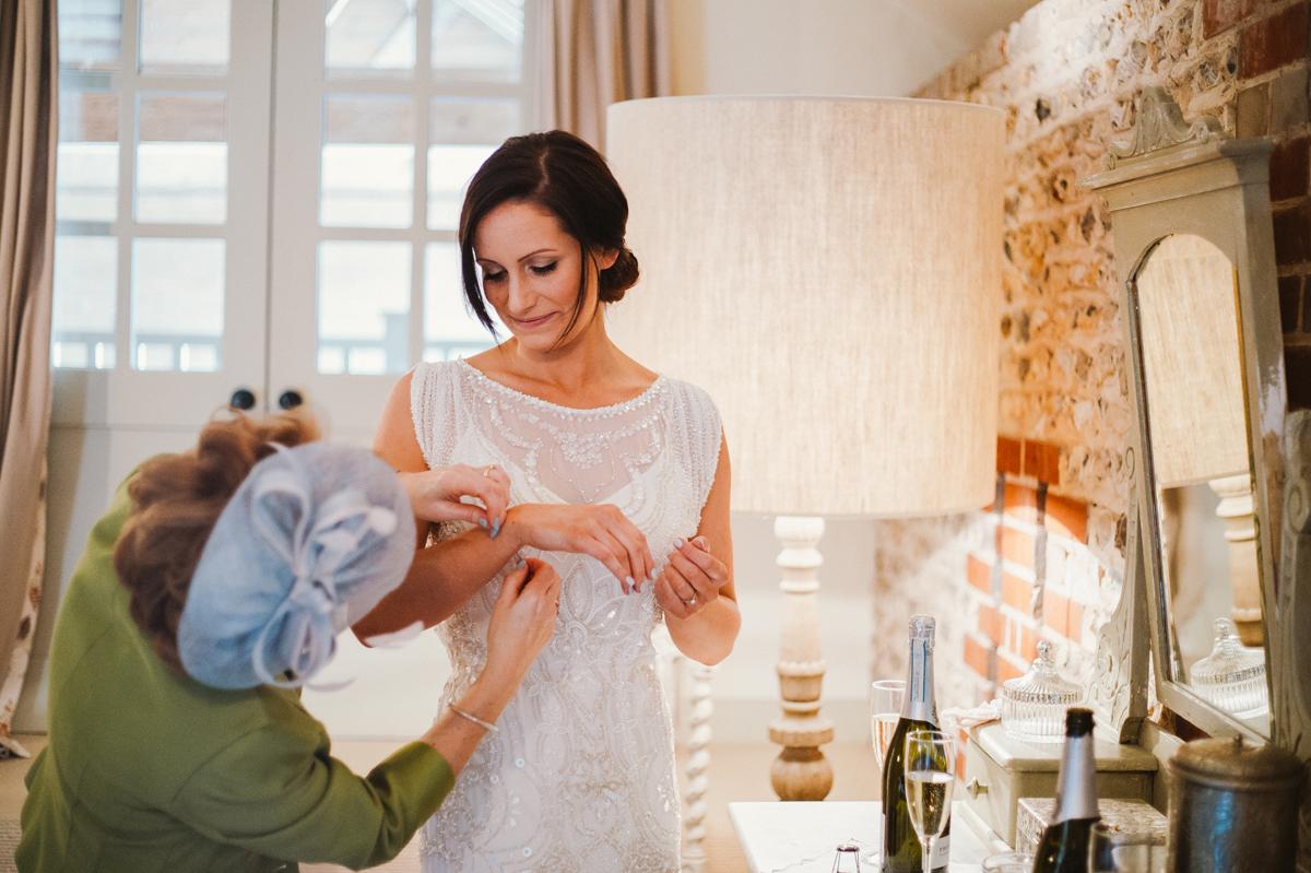 Bride in her beaded dress