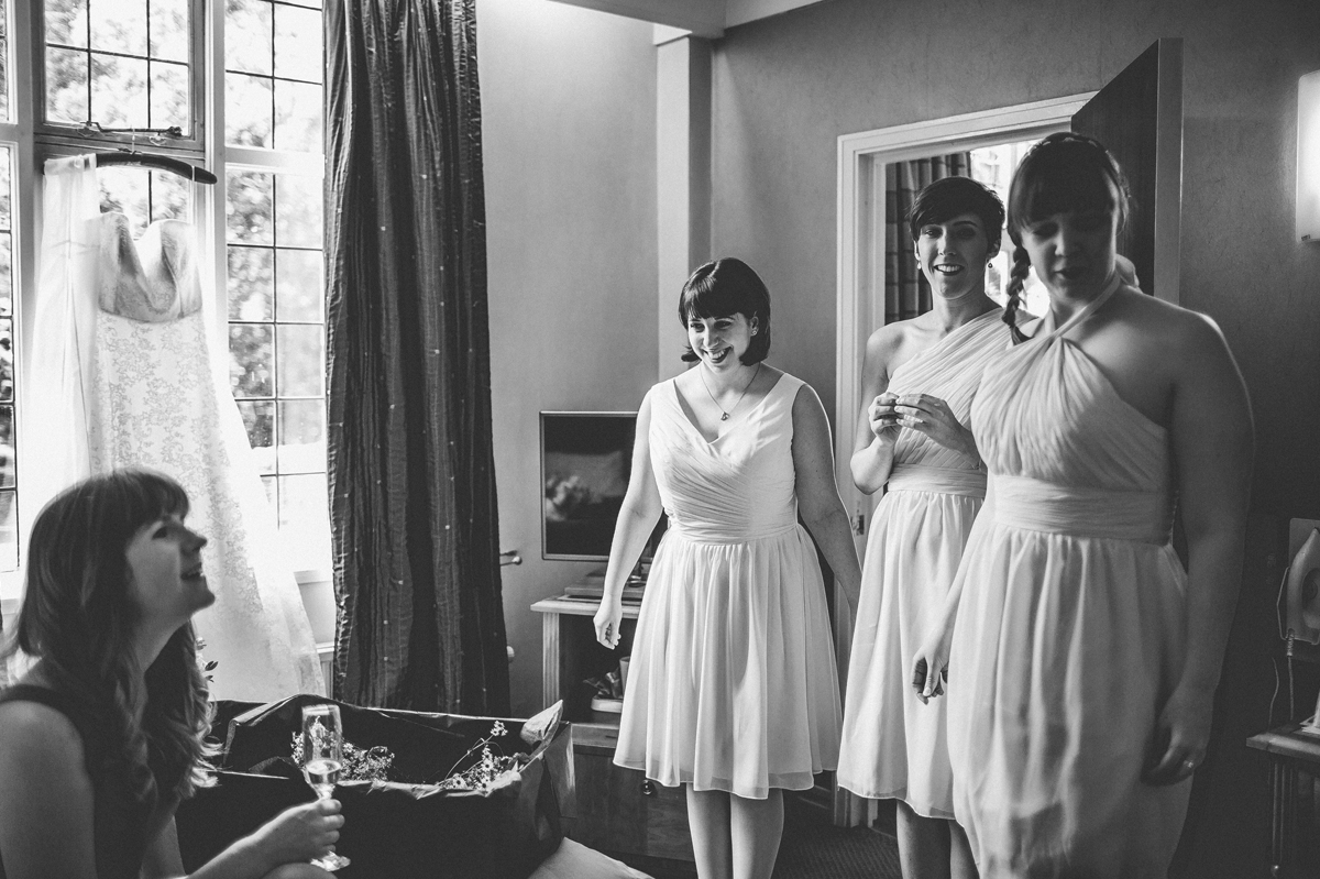 Bridesmaids in their dresses