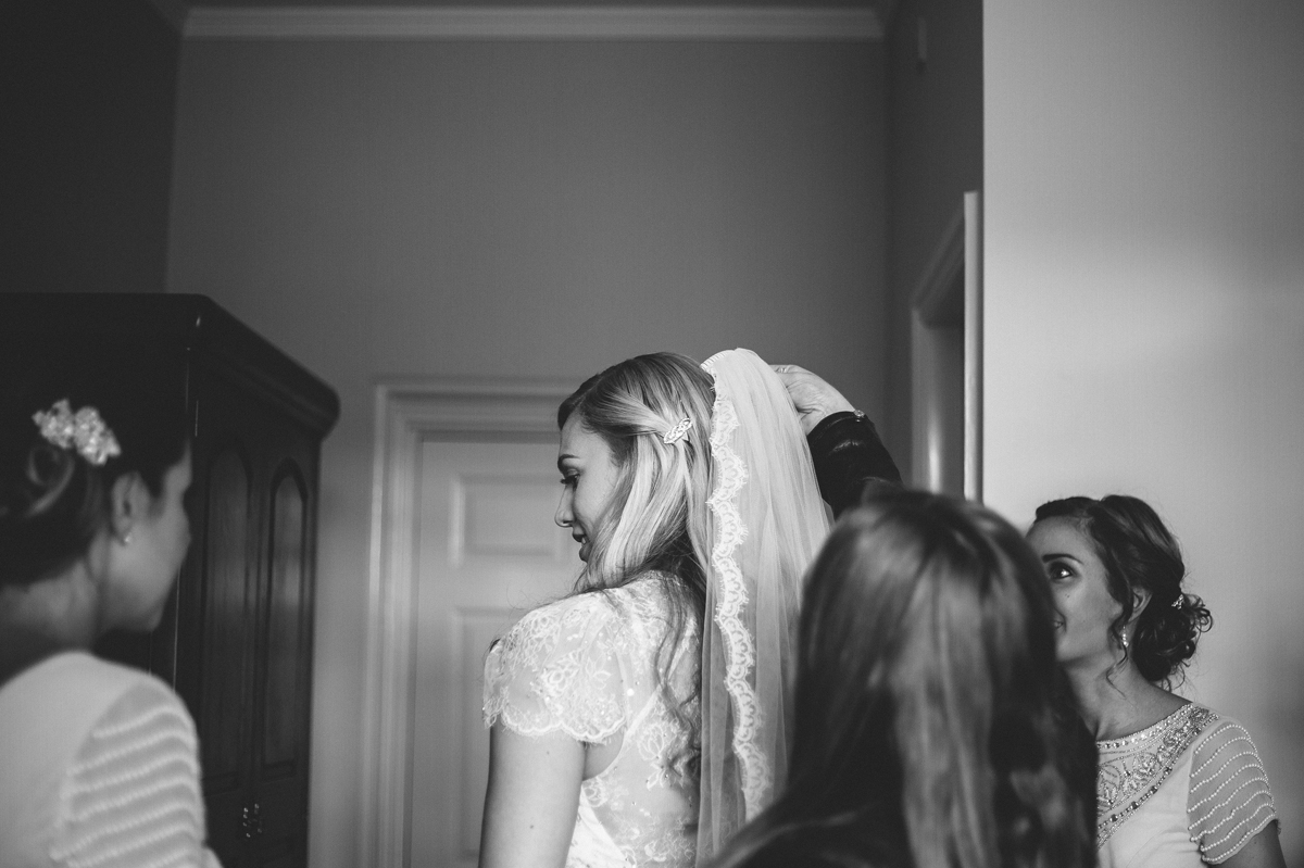Bride with her lace veil