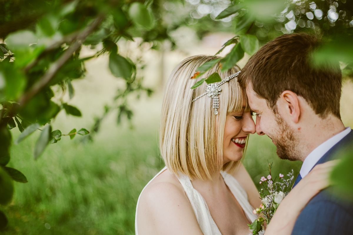 Meols Hall wedding portrait in the trees