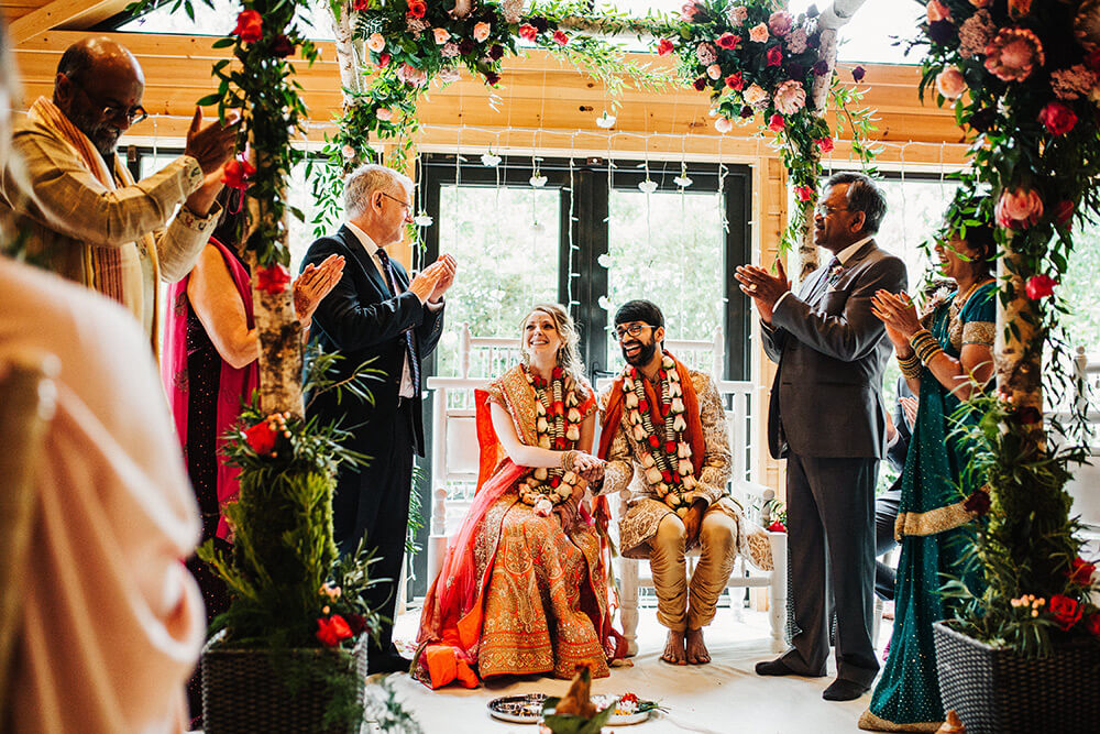 Colourful Hindu wedding ceremony Styal Lodge