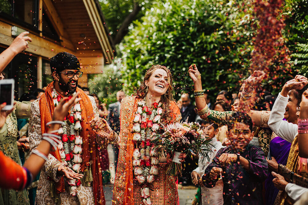 Confetti throwing Hindu wedding