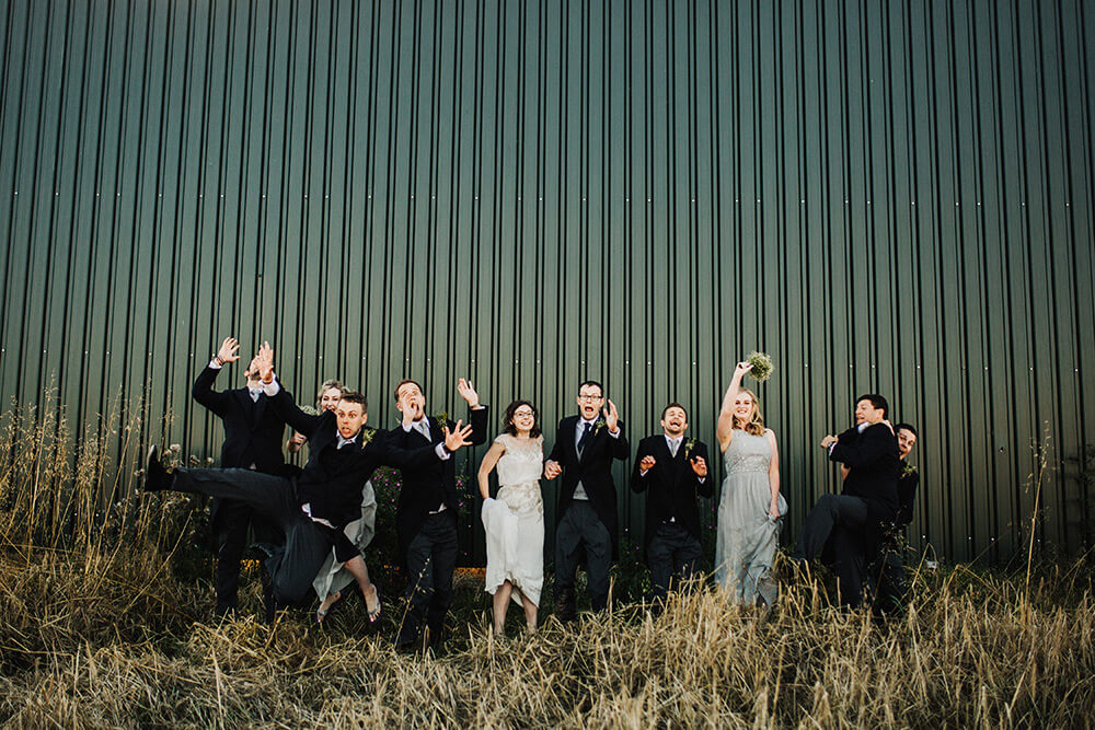 Fun wedding photo - Farm wedding Cheshire