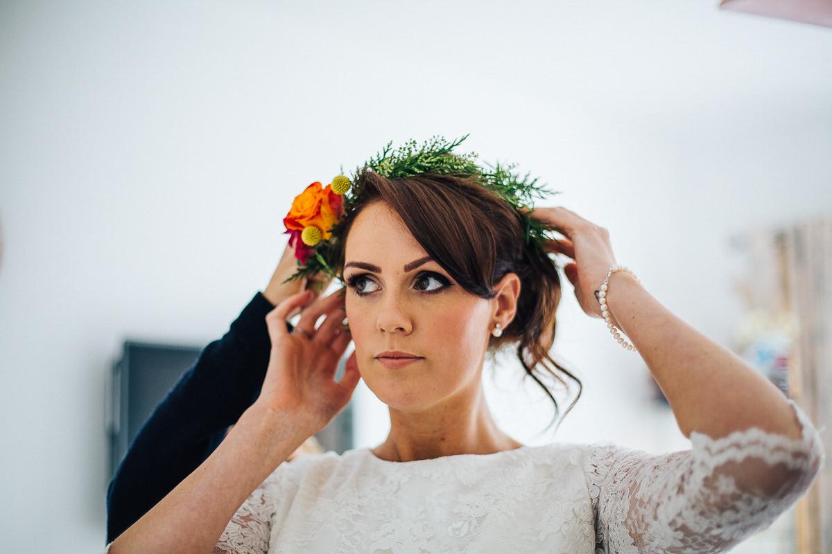 Bride's colourful flower crown