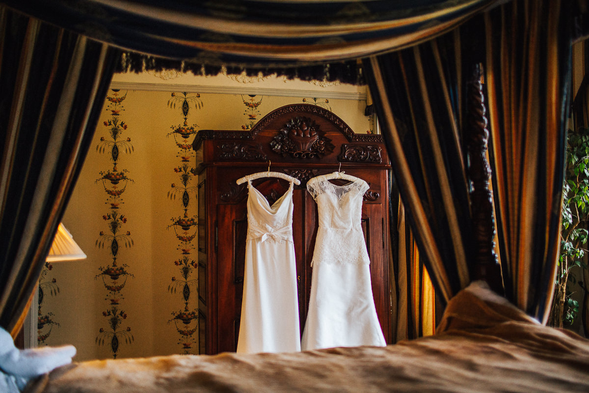 Wedding dresses hung up at Trevor Hall Wales