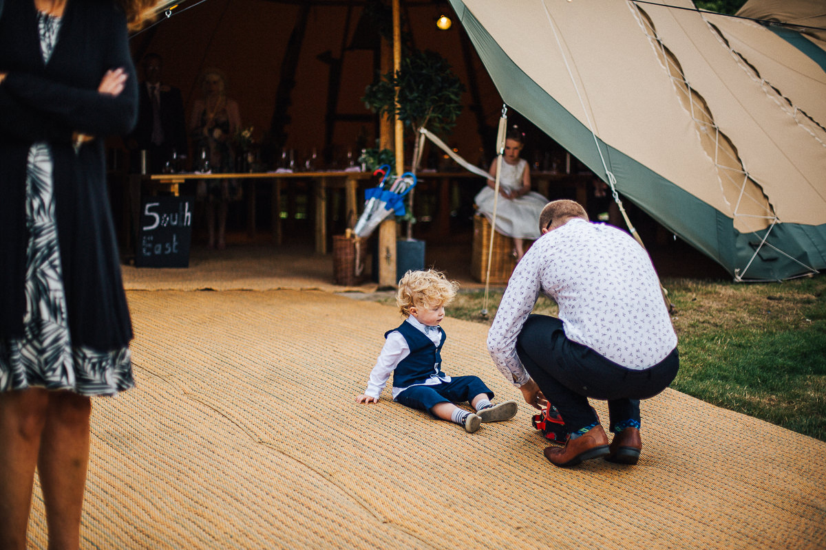 Guests at the tipi wedding