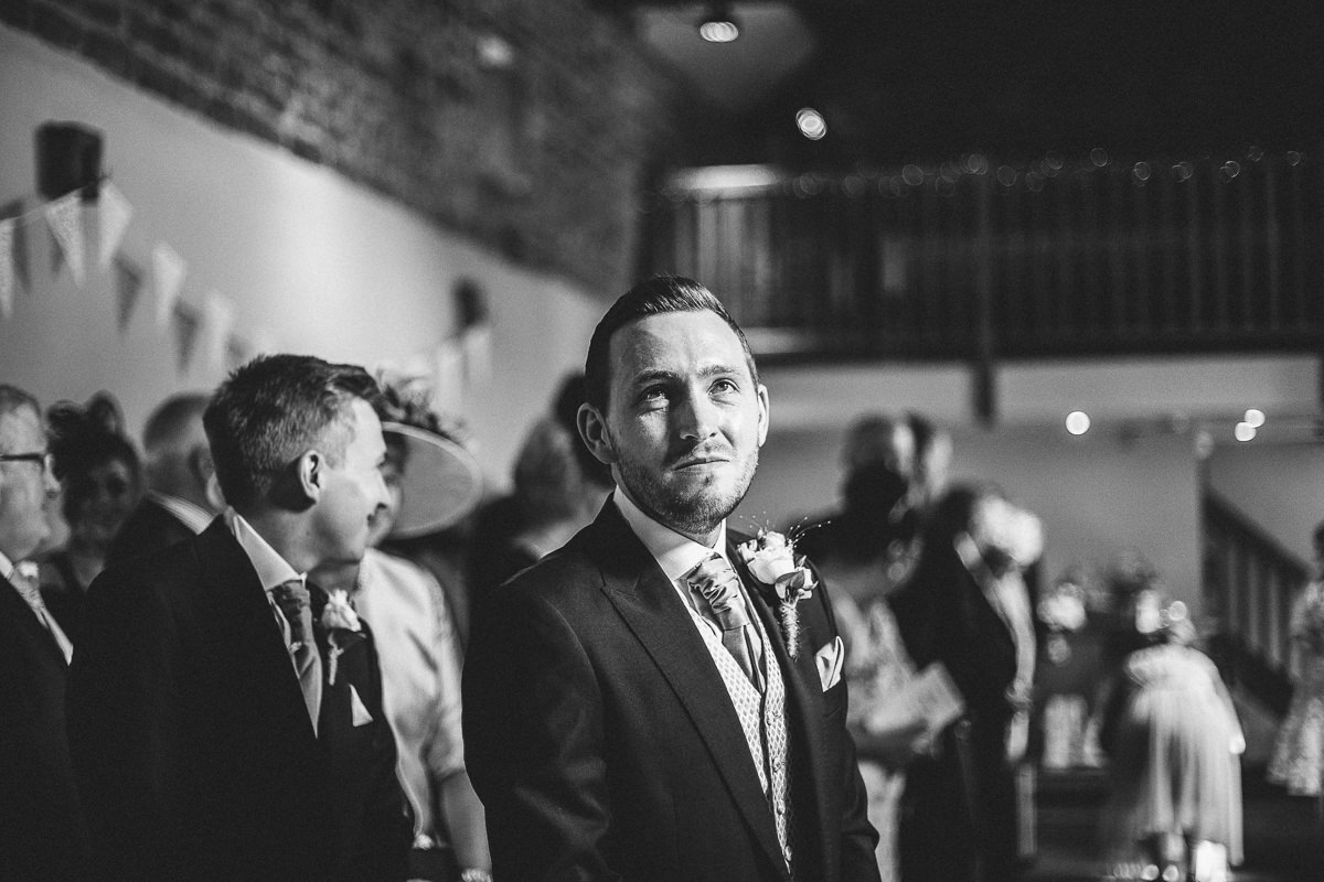 Groom's emotions at Ashes Barn wedding