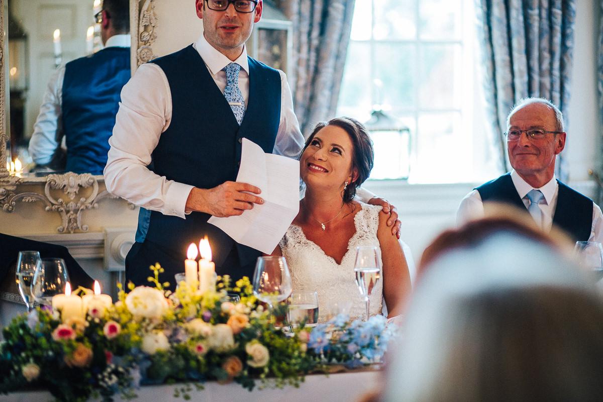 Happy bride at Eaves Hall wedding