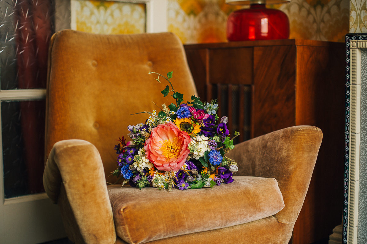 Colourful woodland wedding bouquet