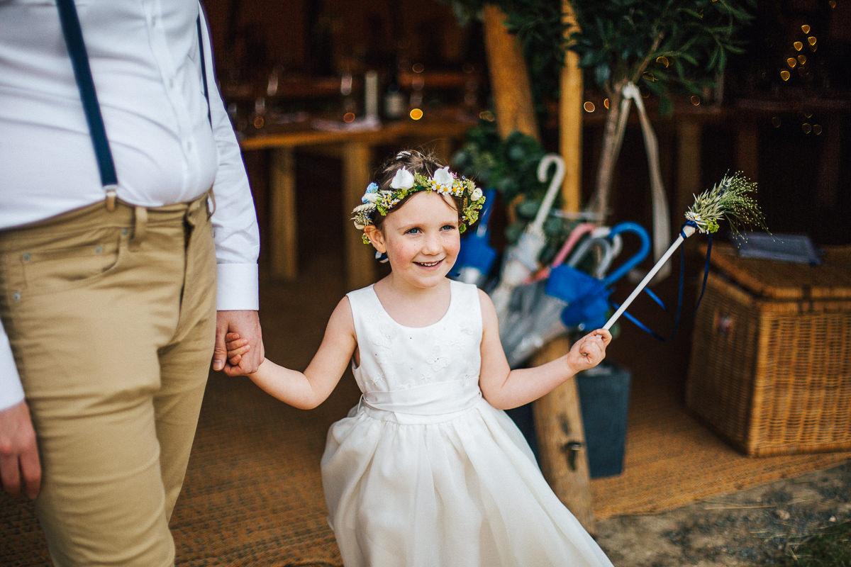 Flower girl at tipi wedding