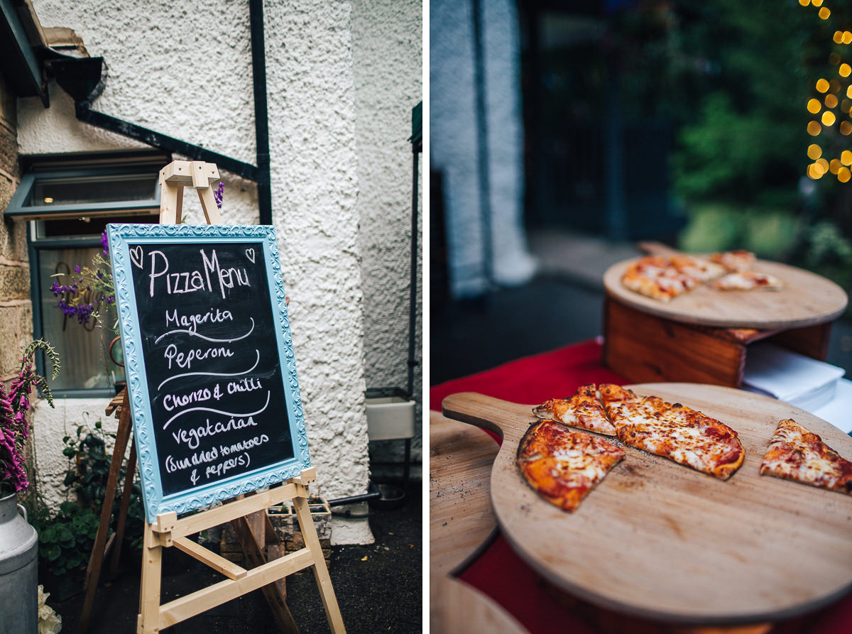 Outdoor wedding food, pizza