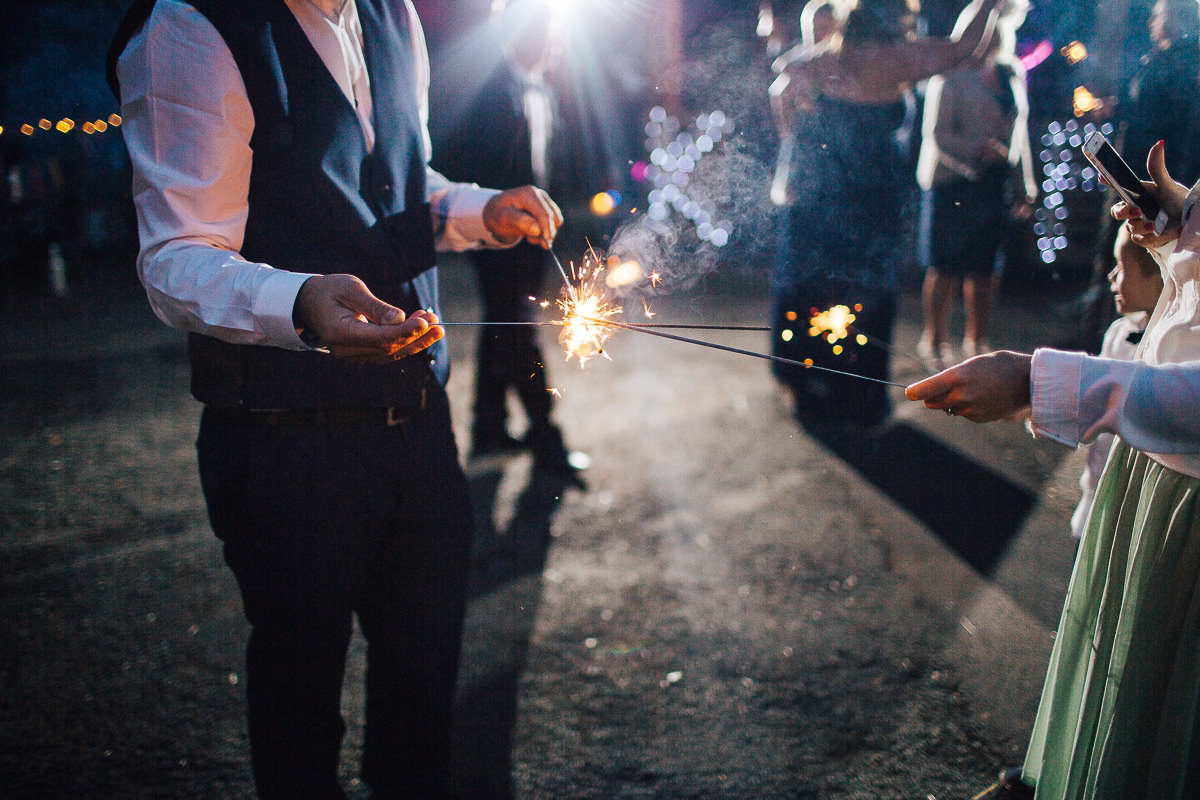 Evening sparklers - Spring Cottage wedding Rivington