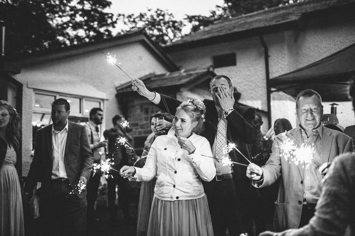 Wedding sparklers - Outdoor wedding Lancashire