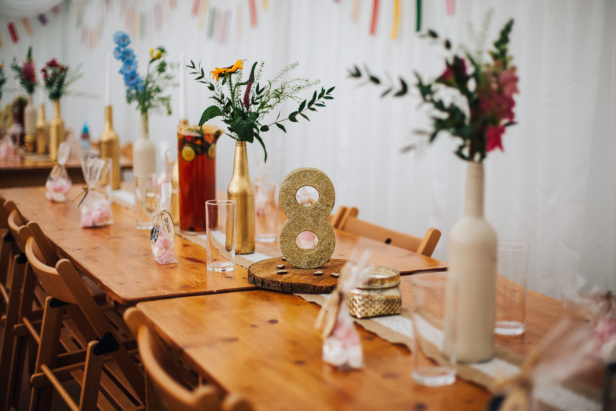 Colourful rustic wedding details