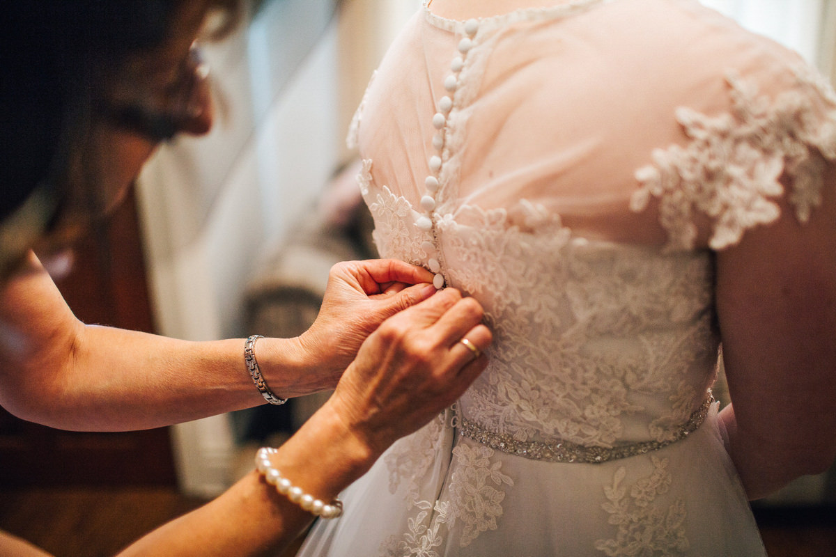 Fitting the dress - wedding morning