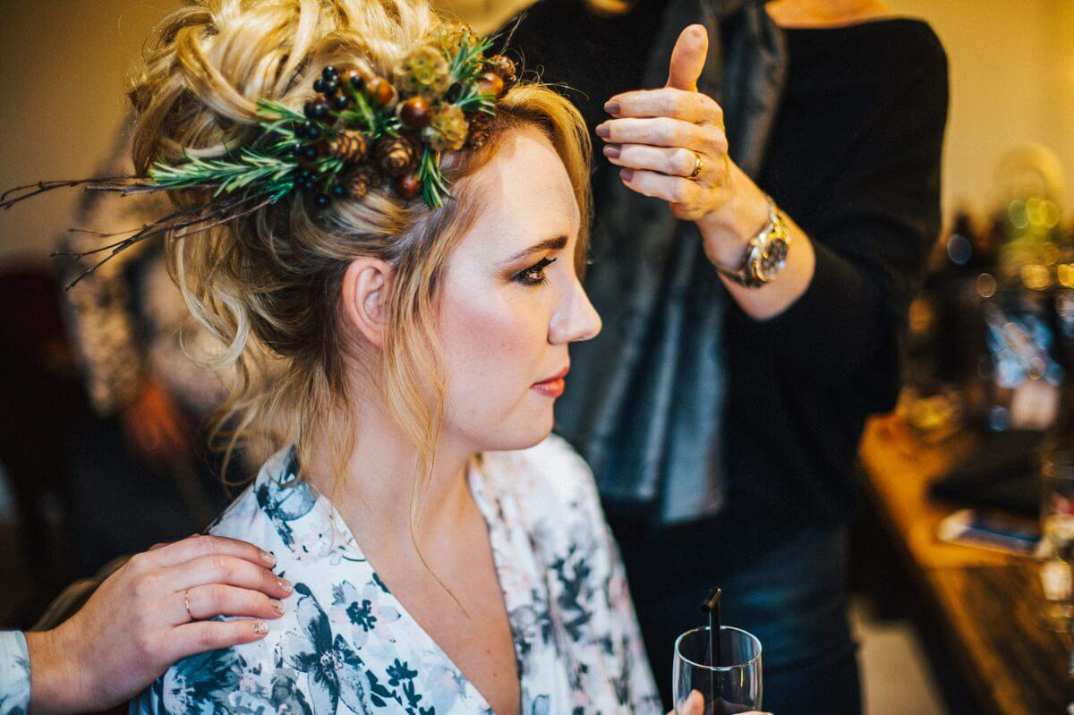 Wedding hair and woodland hairpiece