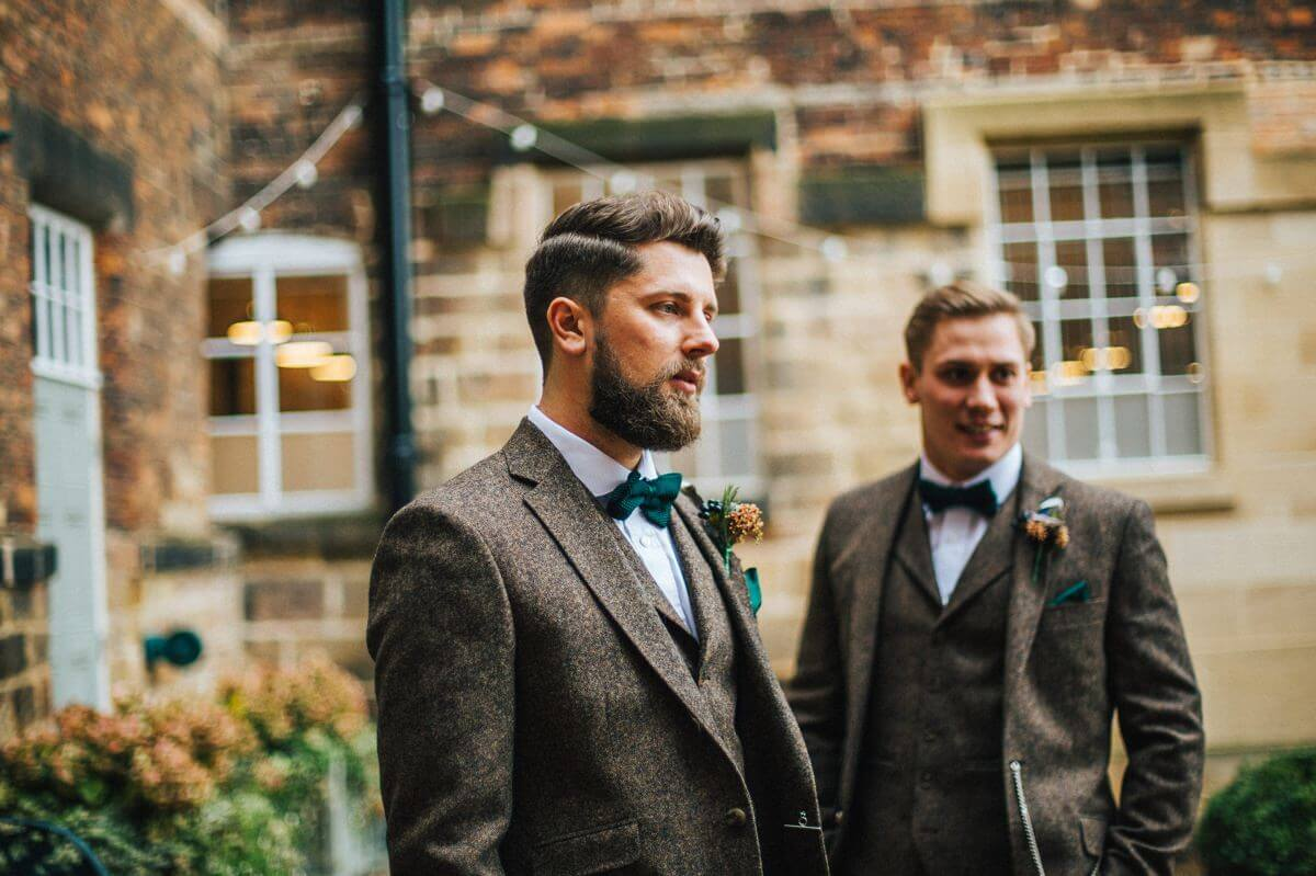Groom's tweed suit