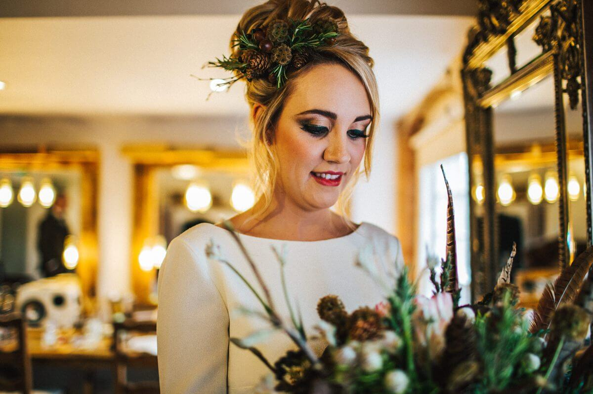 Bride wearing a woodland inspired hairpiece