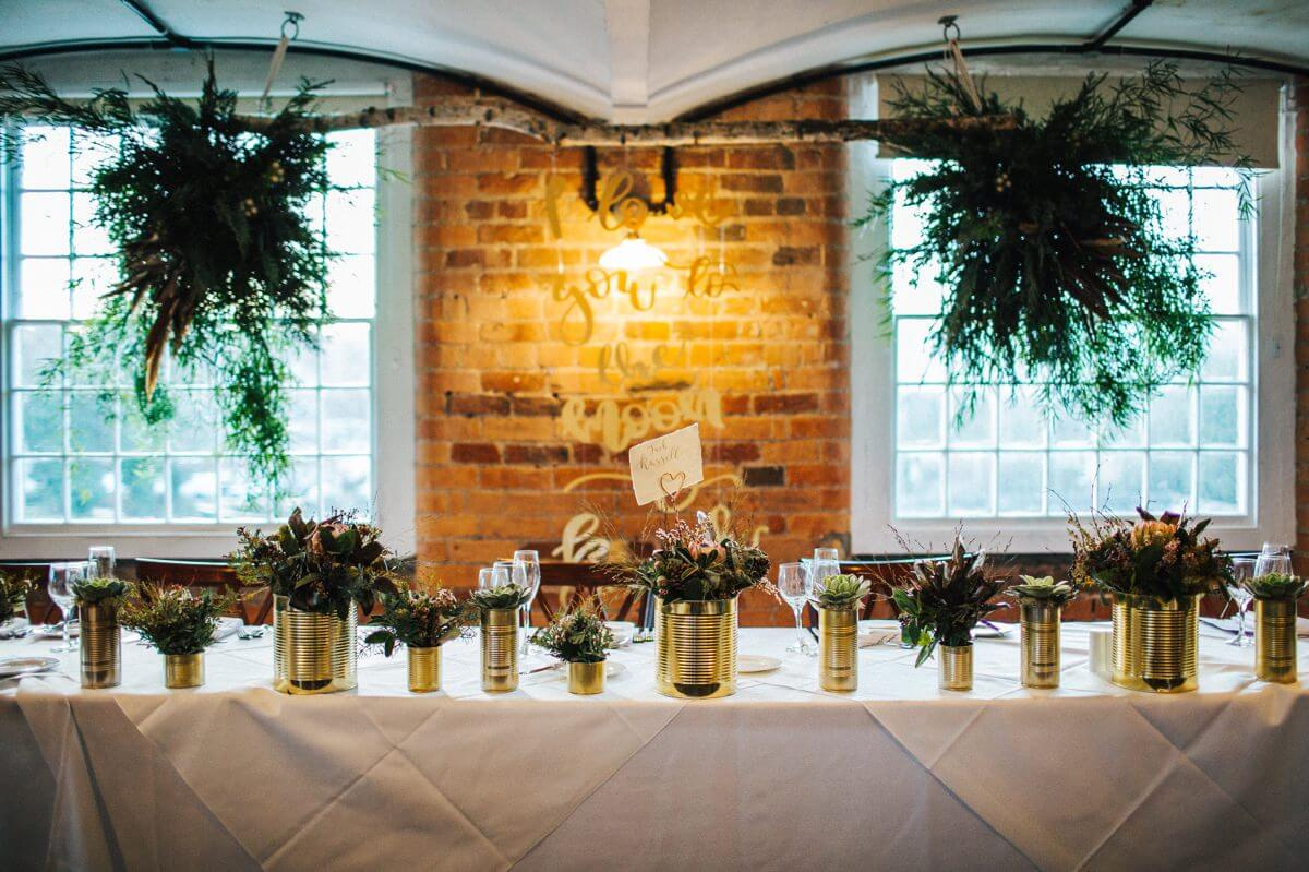 Woodland gold wedding details