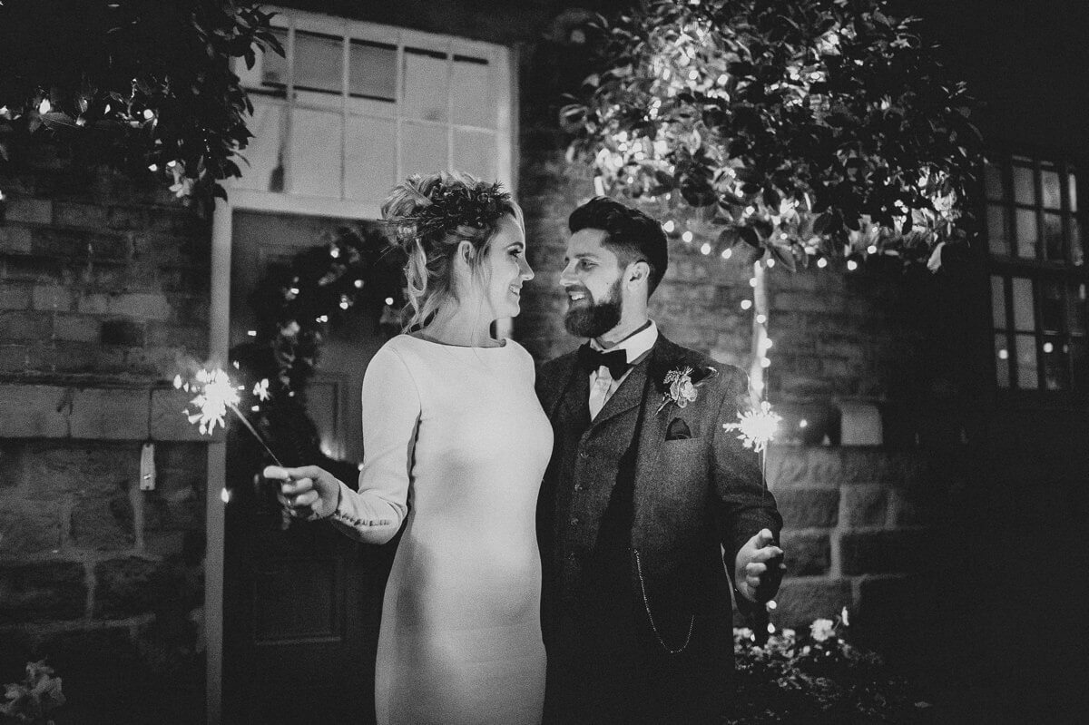 Evening wedding sparklers