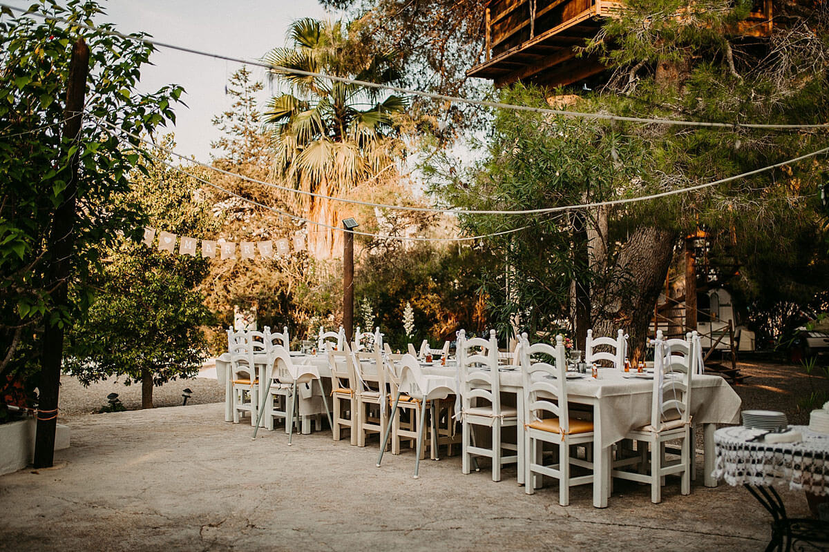Outdoor wedding venue seating