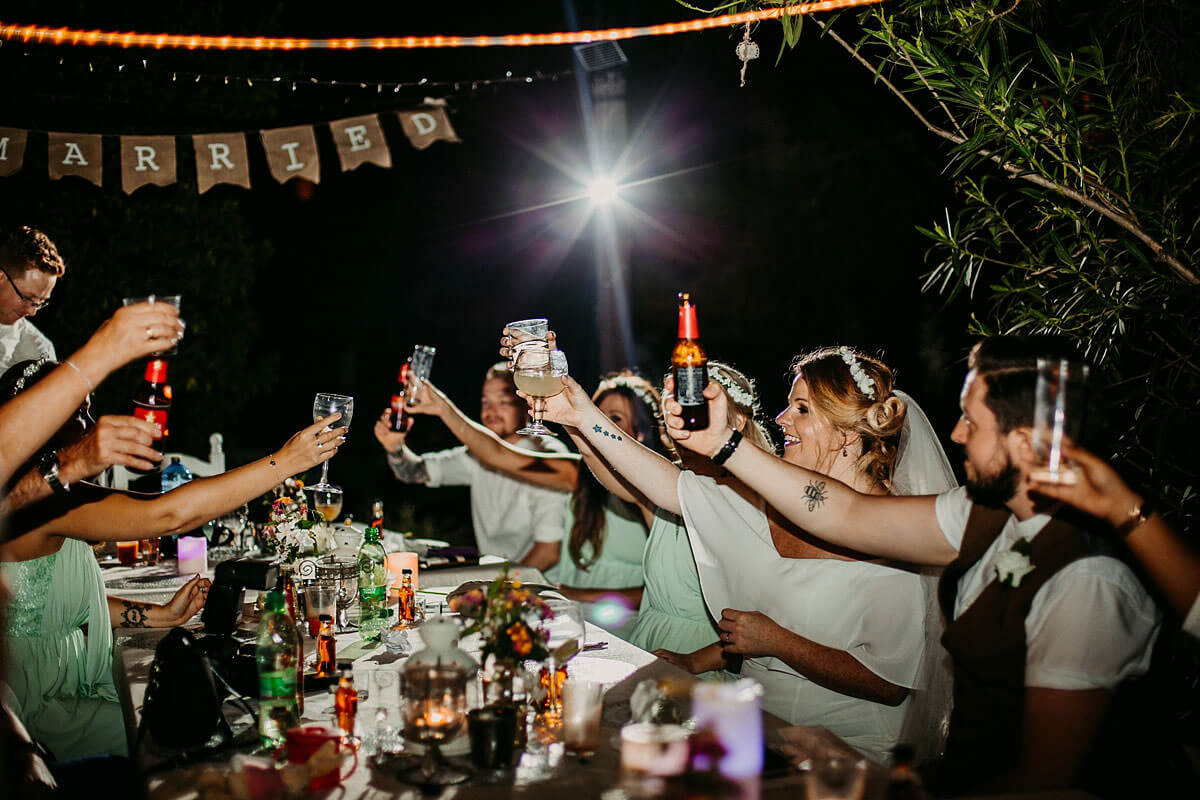 Outdoor wedding toast