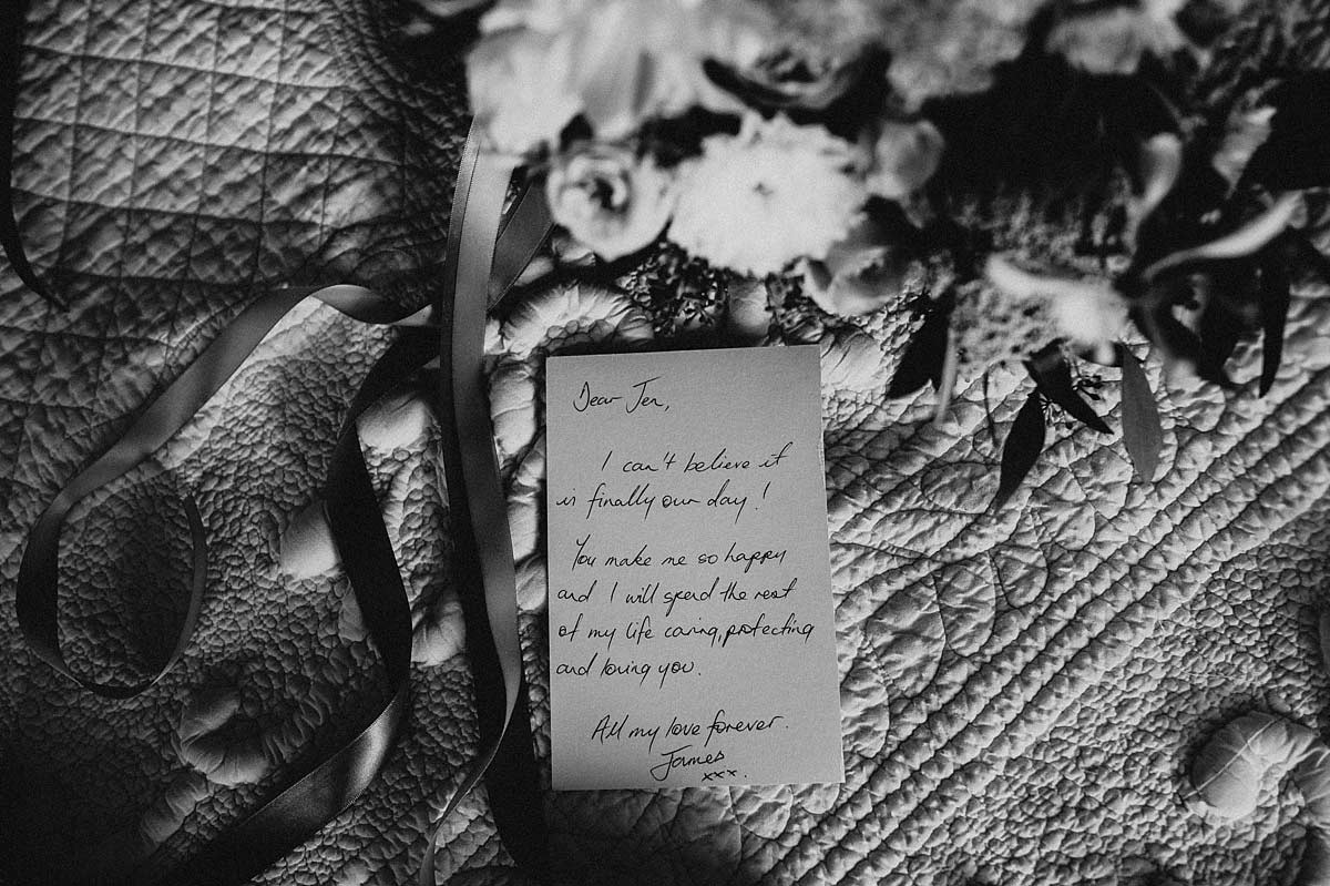 Personal note from the groom