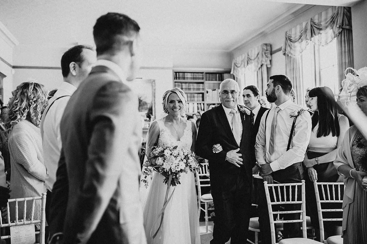 The Bride walking down the aisle at East Bridgford Hill